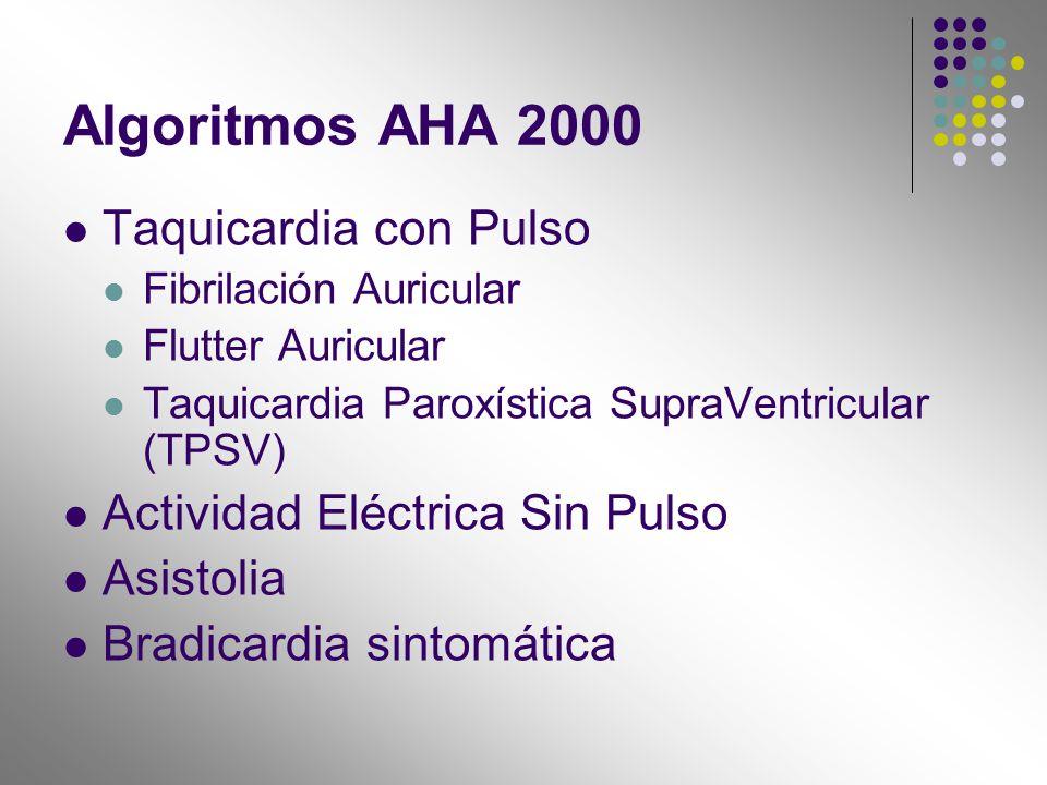 Algoritmos AHA 2000 Taquicardia con Pulso Fibrilación Auricular Flutter Auricular Taquicardia Paroxística SupraVentricular (TPSV) Actividad Eléctrica