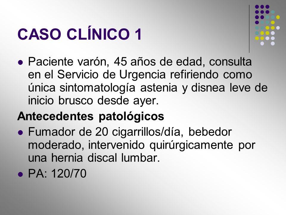 CASO CLÍNICO 1 Paciente varón, 45 años de edad, consulta en el Servicio de Urgencia refiriendo como única sintomatología astenia y disnea leve de inic
