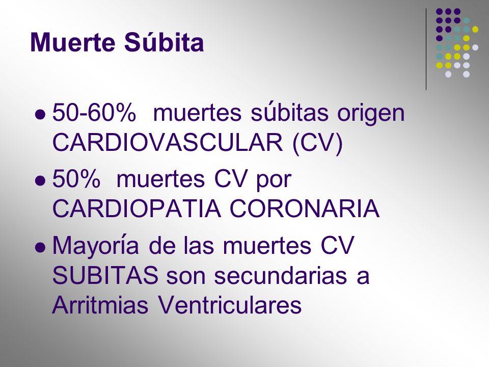 50-60% muertes s ú bitas origen CARDIOVASCULAR (CV) 50% muertes CV por CARDIOPATIA CORONARIA Mayor í a de las muertes CV SUBITAS son secundarias a Arr