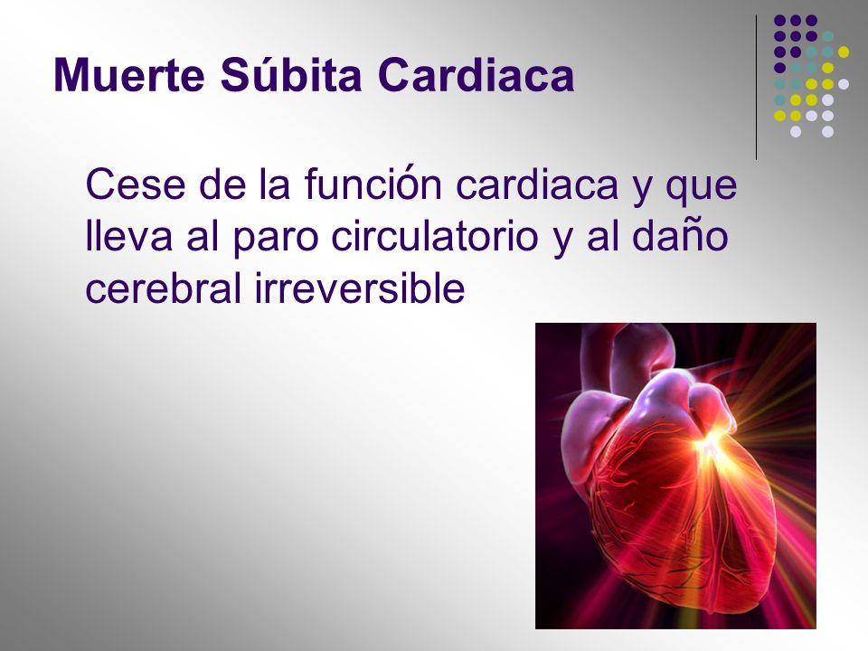 Cese de la funci ó n cardiaca y que lleva al paro circulatorio y al da ñ o cerebral irreversible Muerte Súbita Cardiaca