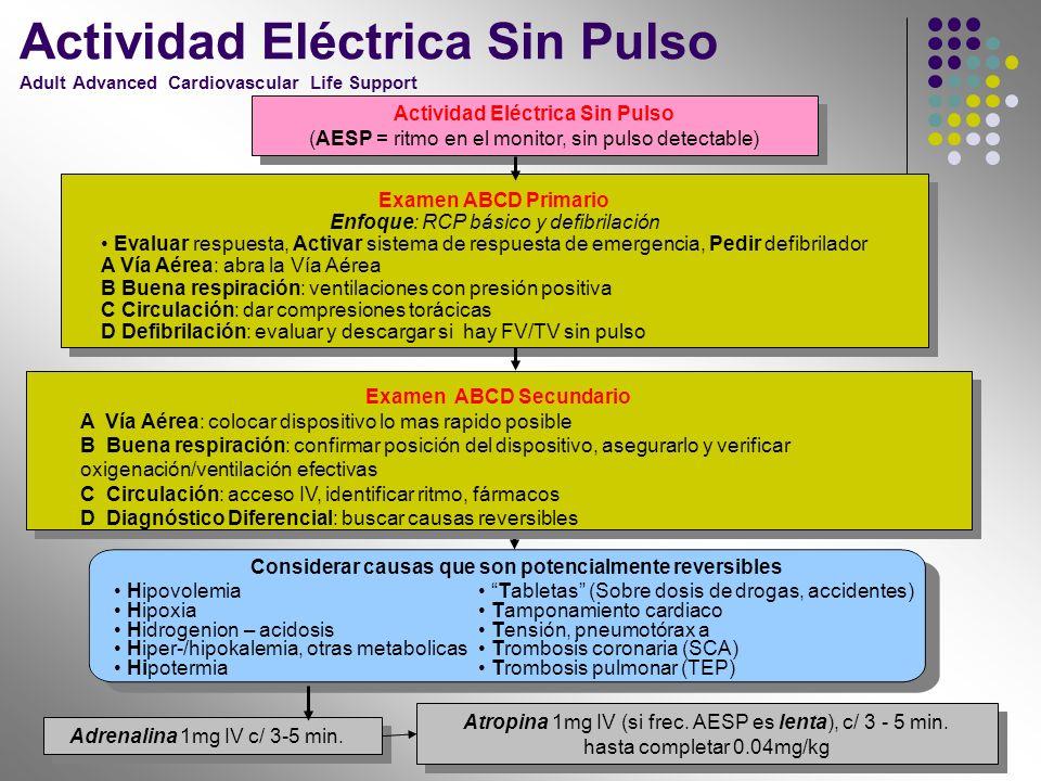 Examen ABCD Primario Enfoque: RCP básico y defibrilación Evaluar respuesta, Activar sistema de respuesta de emergencia, Pedir defibrilador A Vía Aérea