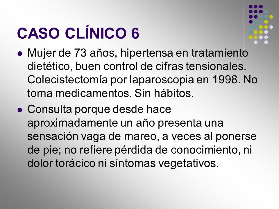 CASO CLÍNICO 6 Mujer de 73 años, hipertensa en tratamiento dietético, buen control de cifras tensionales. Colecistectomía por laparoscopia en 1998. No