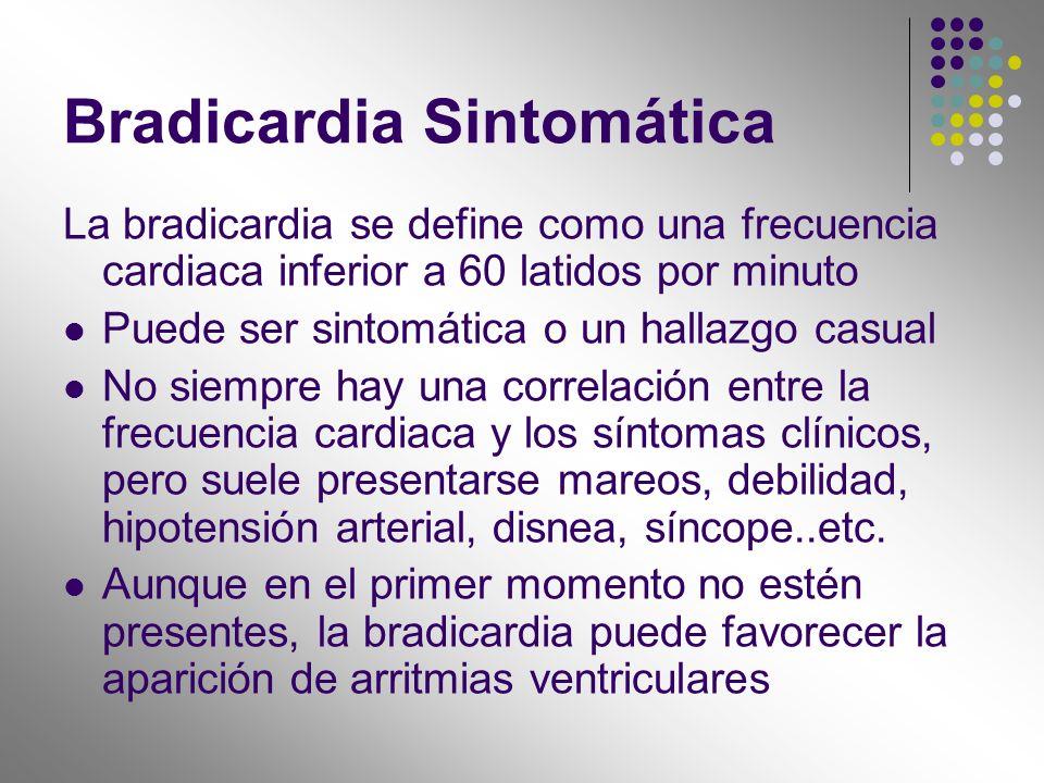 Bradicardia Sintomática La bradicardia se define como una frecuencia cardiaca inferior a 60 latidos por minuto Puede ser sintomática o un hallazgo cas