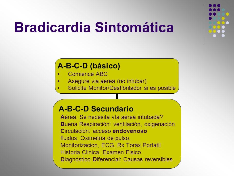 Bradicardia Sintomática A-B-C-D (básico) Comience ABC Asegure via aerea (no intubar) Solicite Monitor/Desfibrilador si es posible A-B-C-D Secundario A