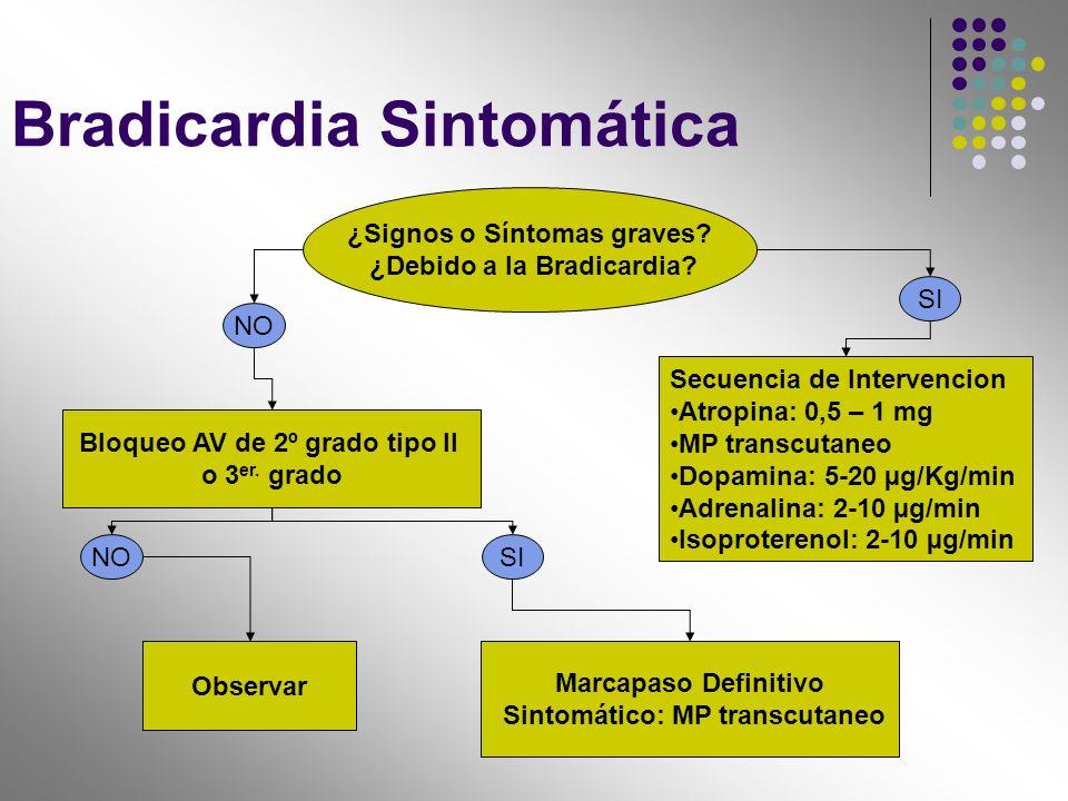 Bradicardia Sintomática ¿Signos o Síntomas graves? ¿Debido a la Bradicardia? NO SI Bloqueo AV de 2º grado tipo II o 3 er. grado Observar NO Marcapaso