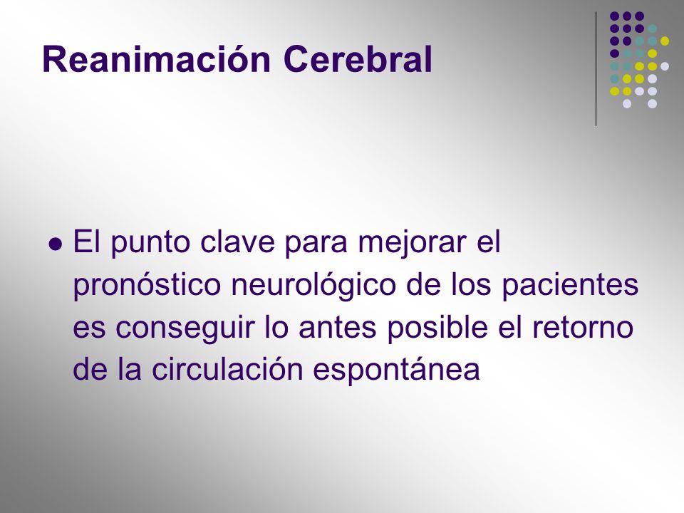 Reanimación Cerebral El punto clave para mejorar el pronóstico neurológico de los pacientes es conseguir lo antes posible el retorno de la circulación
