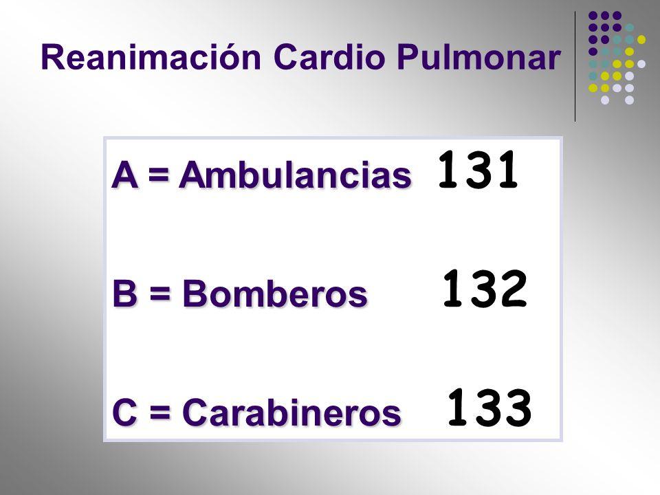 A = Ambulancias A = Ambulancias 131 B = Bomberos B = Bomberos 132 C = Carabineros C = Carabineros 133 Reanimación Cardio Pulmonar
