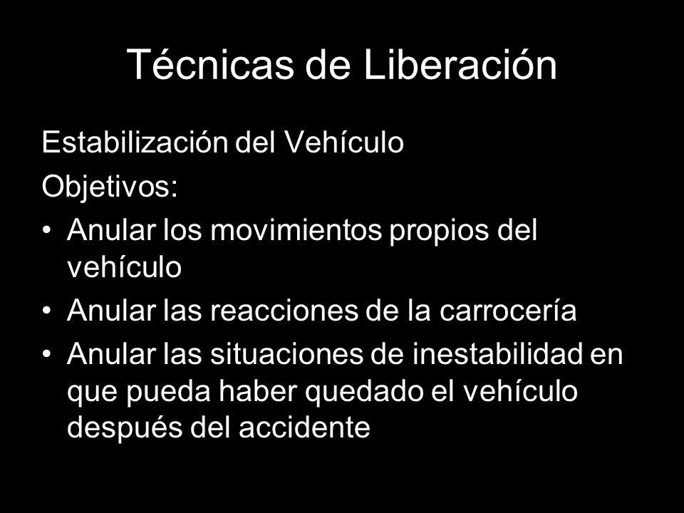 Técnicas de Liberación Estabilización del Vehículo Objetivos: Anular los movimientos propios del vehículo Anular las reacciones de la carrocería Anular las situaciones de inestabilidad en que pueda haber quedado el vehículo después del accidente