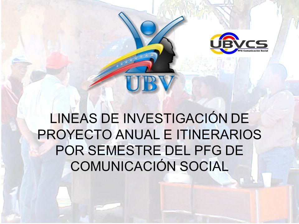 LINEAS DE INVESTIGACIÓN DE PROYECTO ANUAL E ITINERARIOS POR SEMESTRE DEL PFG DE COMUNICACIÓN SOCIAL