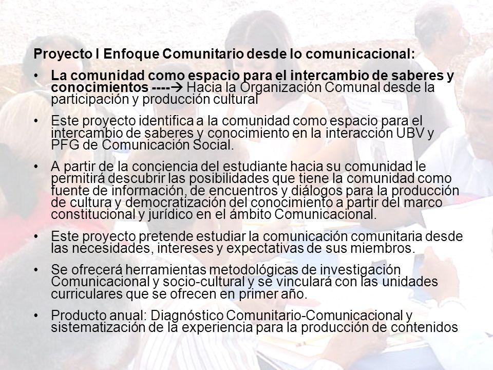 Líneas de Investigación planteadas para el Diseño Curricular del PFG de COMSO de la UBV (Por Trayecto) Proyecto I Enfoque Comunitario desde lo comunic