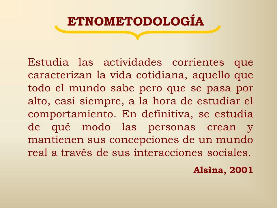 Etno Metodología Competencia que tiene una persona en los conocimientos de sentido común propios de su sociedad Conjunto de actuaciones prácticas basa