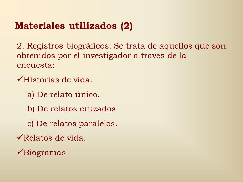 Materiales utilizados (1) 1. Documentos personales: Registro no motivado o incentivado por el investigador durante el desarrollo de su trabajo, que po
