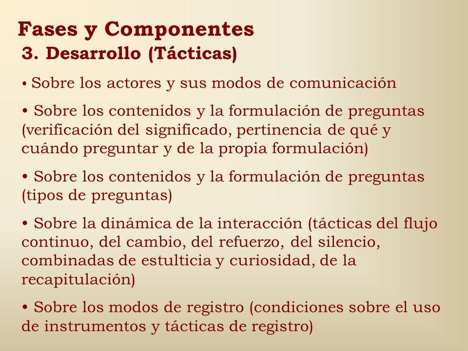 Fases y Componentes 2. Comienzo Psicología del sujeto y enfoque, tono y estilo ajustados al sujeto. Sensibilidad, interés o novedad del tema para el s