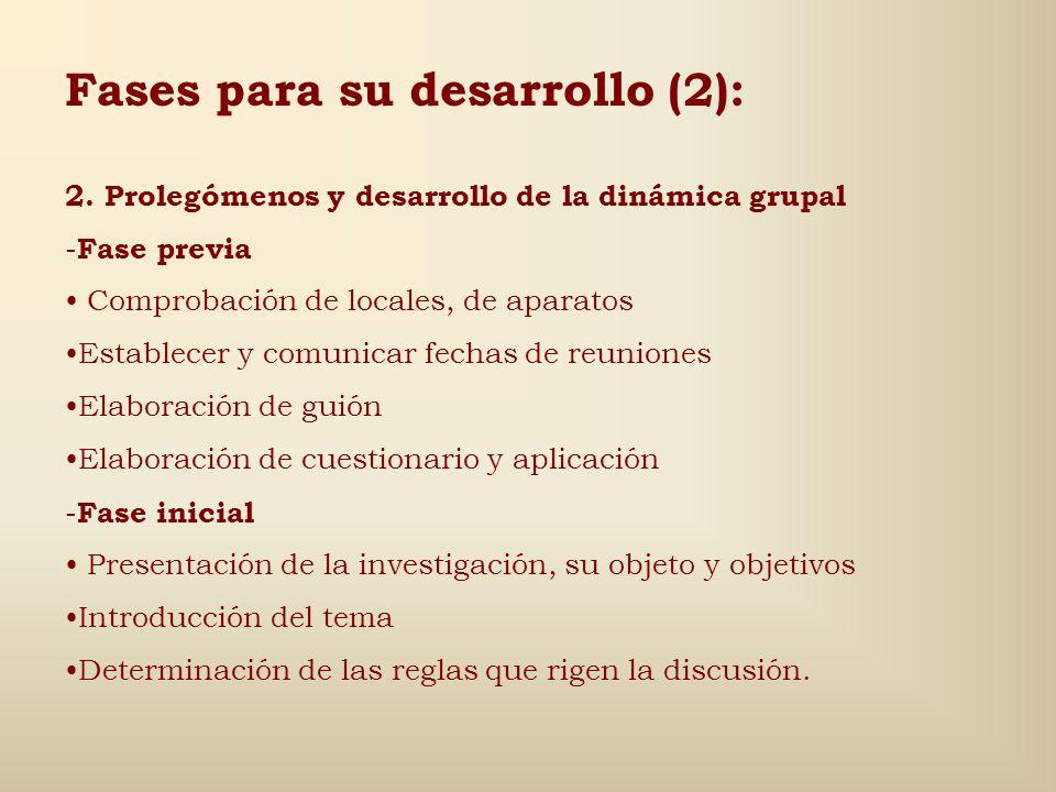 Fases para su desarrollo (1): 1.Diseño y constitución -Componentes (actuantes y mantenedor) -Número de grupos -Número de actuantes de cada clase -Tama