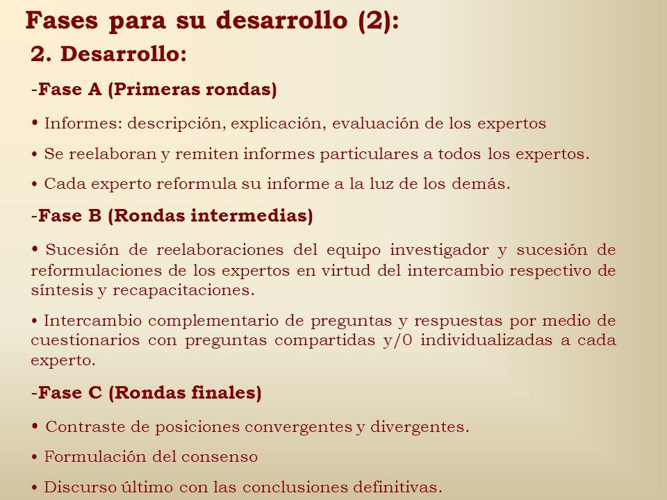 Fases para su desarrollo (1): 1.Preparación: -Criterios de selección de los componentes: Identificación de los perfiles que han de representar los div