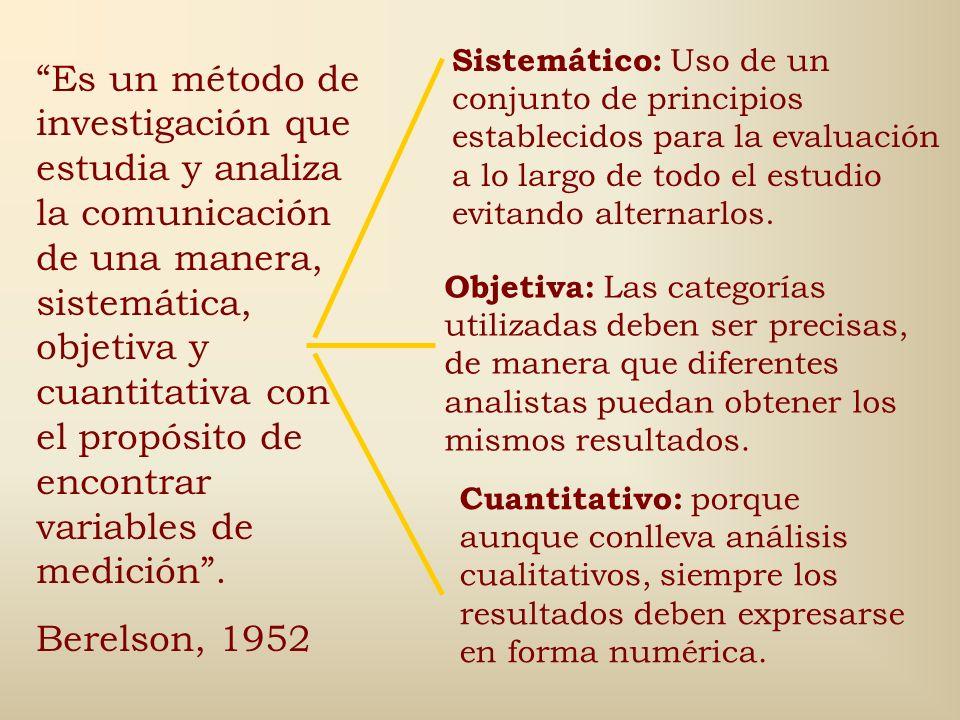 Otras definiciones: Procedimiento sistemático ideado para examinar el contenido de la información registrada Walizer y Wienir (1978) Técnica de invest