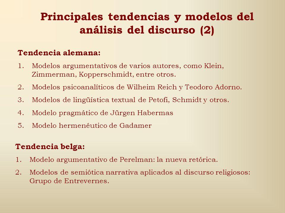Principales tendencias y modelos del análisis del discurso (1) Tendencia americana: 1.Modelo distribucional de Zelling Harris 2.Modelo transformaciona