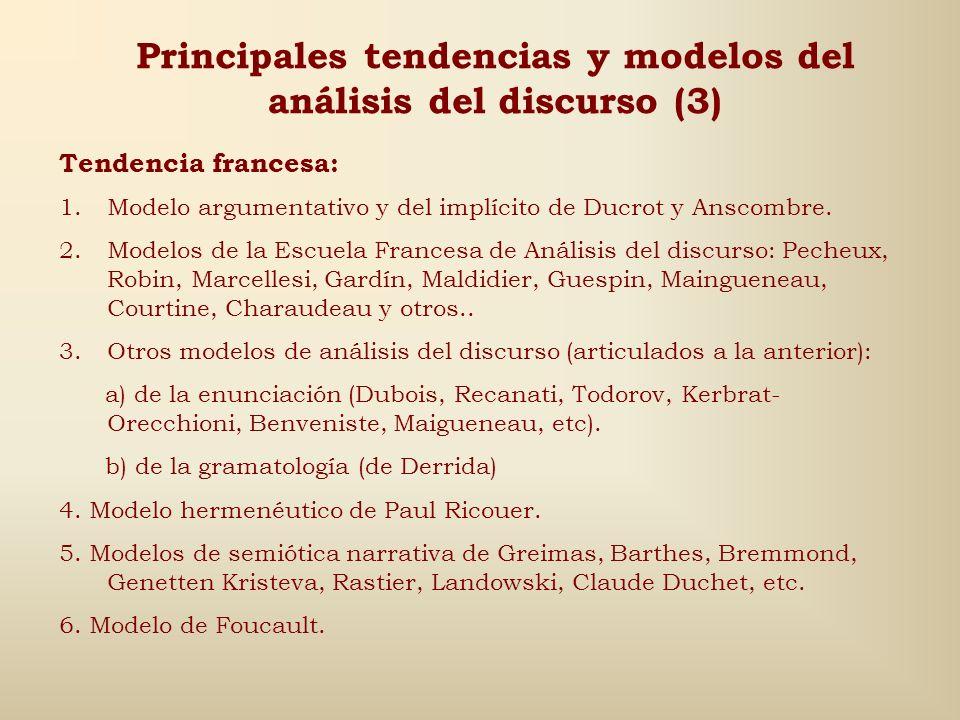 Principales tendencias y modelos del análisis del discurso (2) Tendencia alemana: 1.Modelos argumentativos de varios autores, como Klein, Zimmerman, K