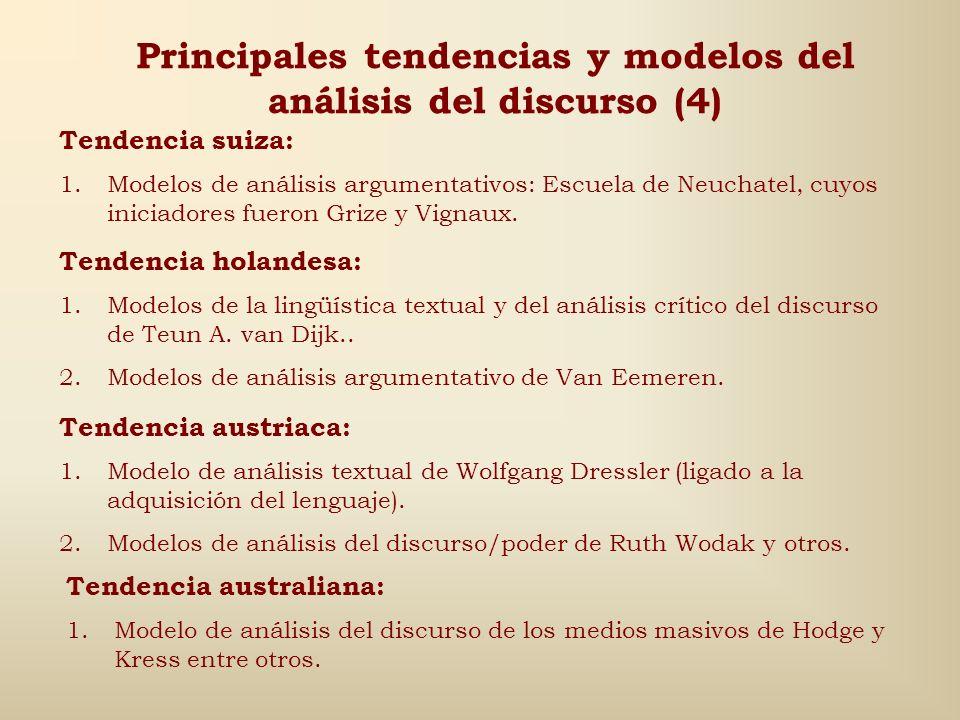 Principales tendencias y modelos del análisis del discurso (3) Tendencia francesa: 1.Modelo argumentativo y del implícito de Ducrot y Anscombre. 2.Mod