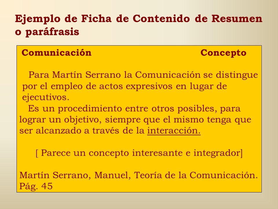 Ejemplo de Ficha de Contenido Textual Comunicación Concepto La Comunicación [...] es una forma de comportamiento que se sirve de actos expresivos en v