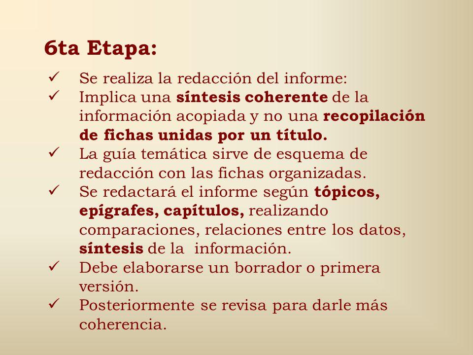 5ta Etapa: Comprende el Análisis e Interpretación de datos Los datos recogidos se organizan dentro de los puntos o epígrafes de la guía temática. Perm