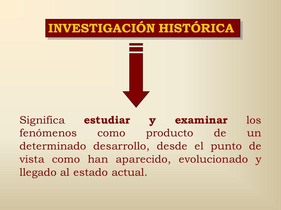 INVESTIGACIÓN HISTÓRICA Es una concepción investigativa que parte del principio del conocimiento de las cosas y de los fenómenos en su desarrollo, en