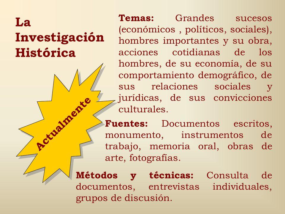 Pasos para organizar y llevar a cabo la Investigación Histórica: 1.Elección del tema y justificación. 2.Elaboración del proyecto de investigación. 3.I