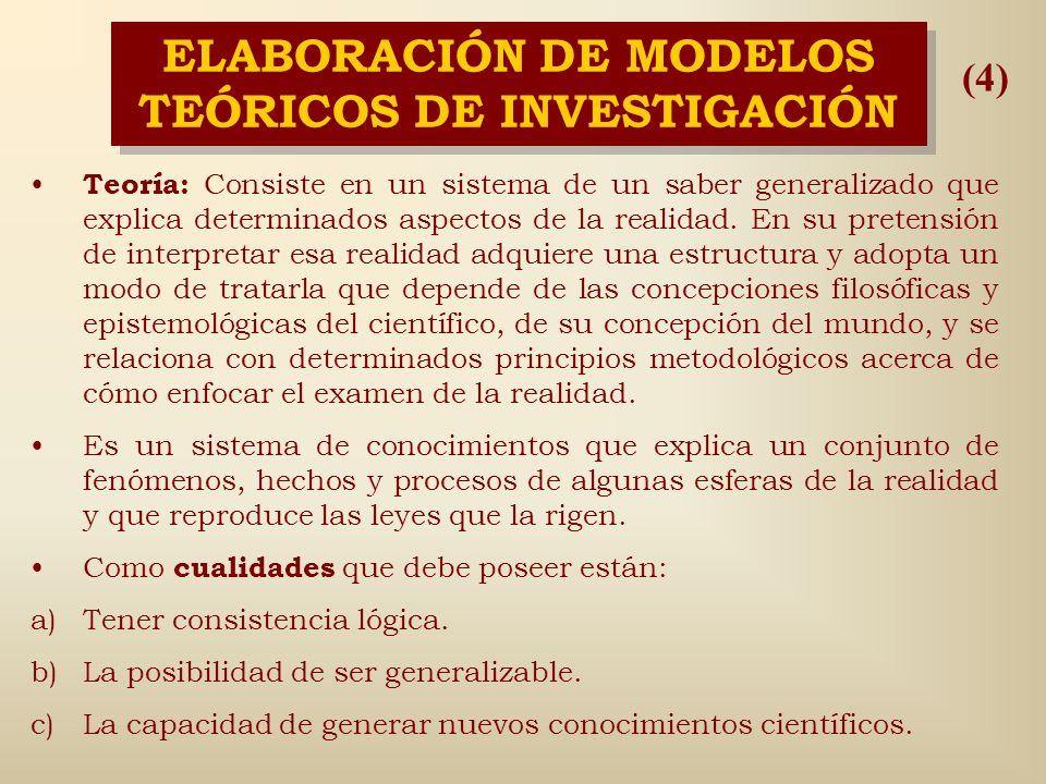 ELABORACIÓN DE MODELOS TEÓRICOS DE INVESTIGACIÓN Leyes: Expresan la conexión interna y esencial de los fenómenos que condicionan su desarrollo necesar