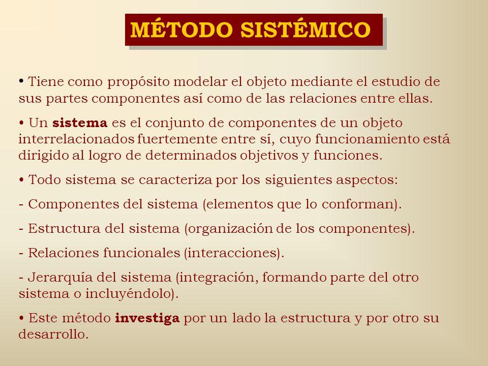 MÉTODO GÉNETICO Identifica una parte elemental del objeto en la cual se observan todos los componentes y relaciones del objeto, y que se identifica co