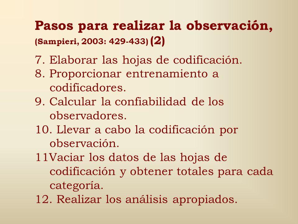 Pasos para realizar la observación, (Sampieri, 2003: 429-433) (1) 1.Definir con precisión el universo de aspectos, eventos o conductas a observar. 2.E
