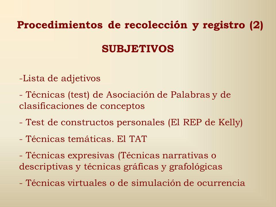Procedimientos de recolección y registro (1) OBJETIVOS Percepto- cognitivos Polirreactígrafo Taquitoscopio Psicofisiológicos Polígrafo Pupilómetro Tom