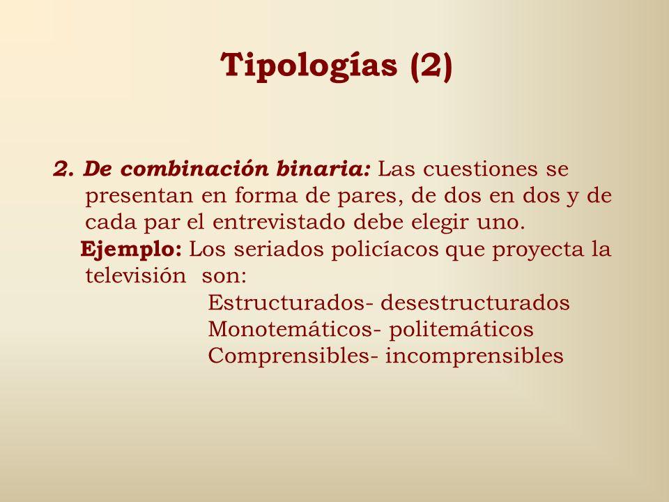 Tipologías (1) 1. De puntos: Utiliza por lo general palabras o enunciados que el encuestado debe puntuar o tachar, según los acepte o los rechace. Así