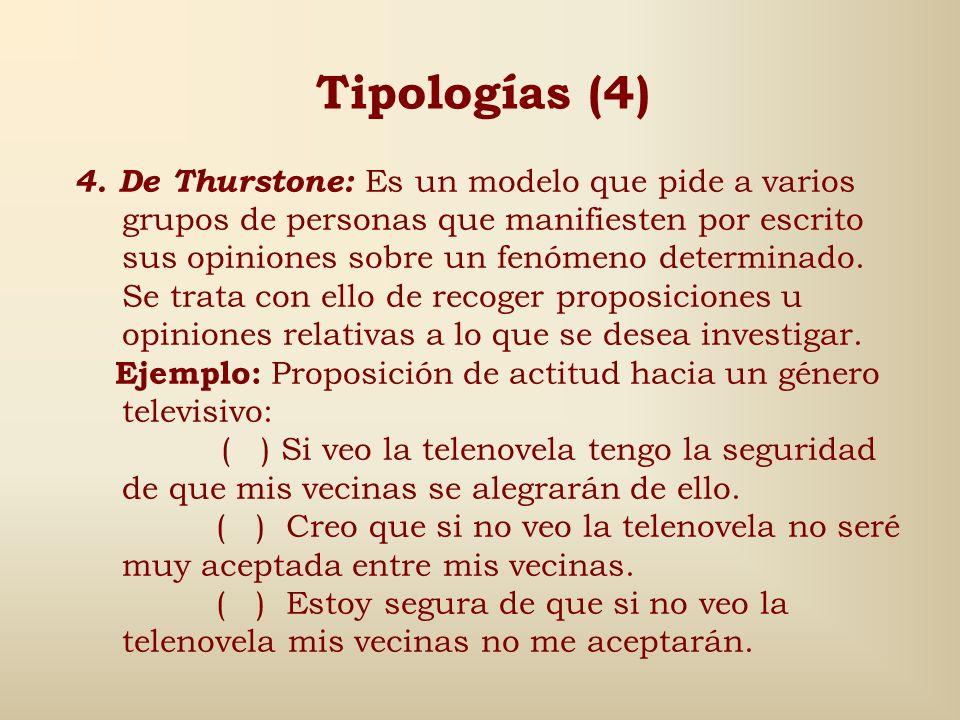 Tipologías (3) 3. De intensidad: Son muy utilizadas y suelen hacer una pregunta referida al aspecto objeto de estudio y el encuestado debe responder s