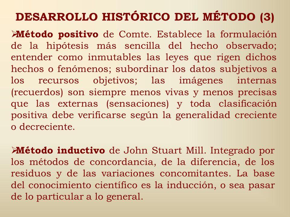 DESARROLLO HISTÓRICO DEL MÉTODO (2) Método Baconiano, fundado en la experiencia y en la inducción que pasa por tres etapas la observación, formulación