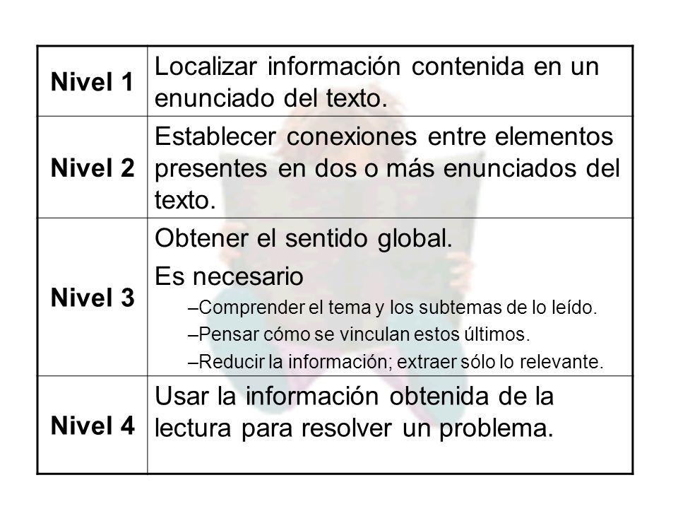 Nivel 1 Localizar información contenida en un enunciado del texto. Nivel 2 Establecer conexiones entre elementos presentes en dos o más enunciados del