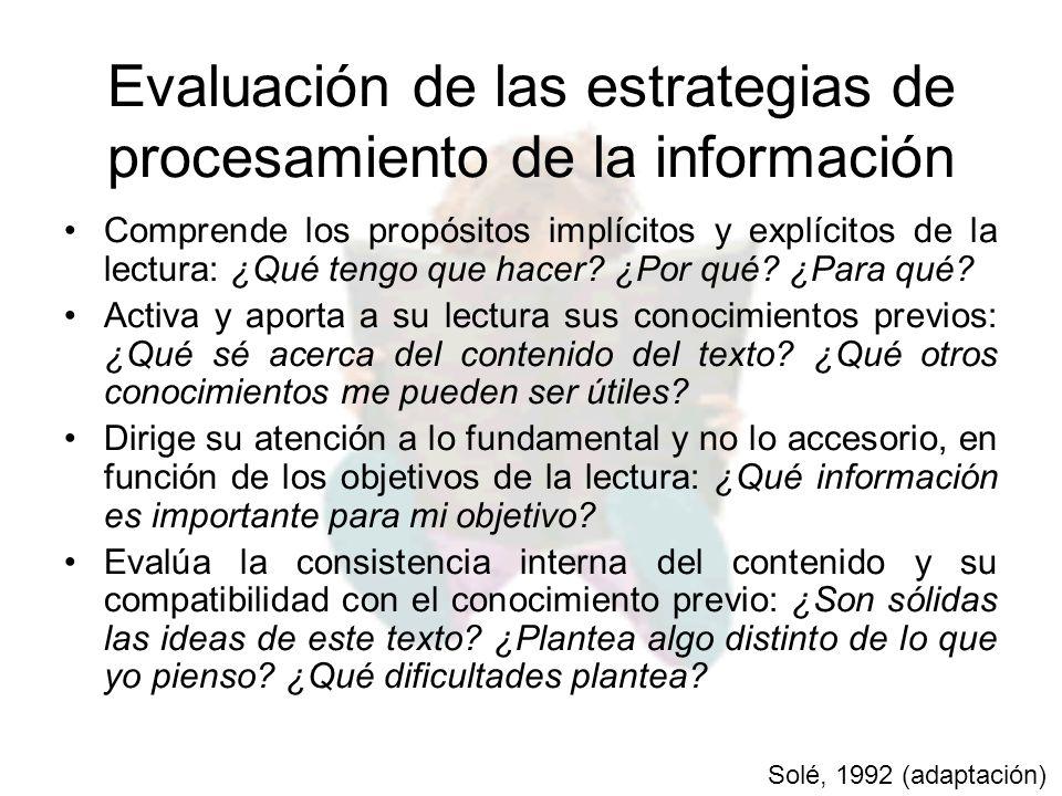 Evaluación de las estrategias de procesamiento de la información Comprende los propósitos implícitos y explícitos de la lectura: ¿Qué tengo que hacer?