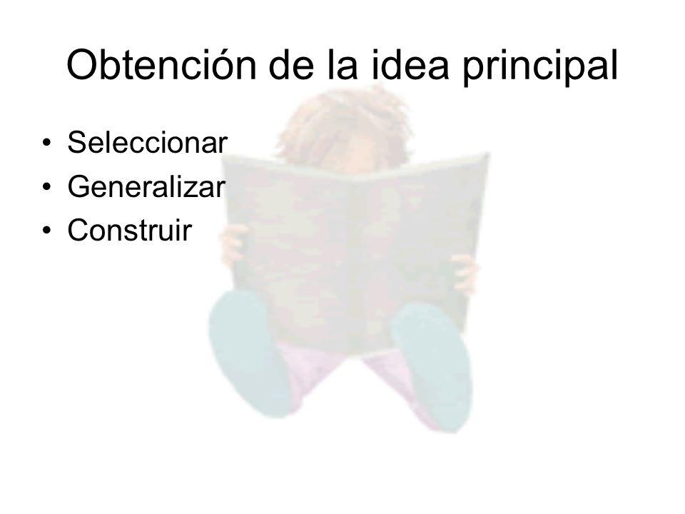 Obtención de la idea principal Seleccionar Generalizar Construir