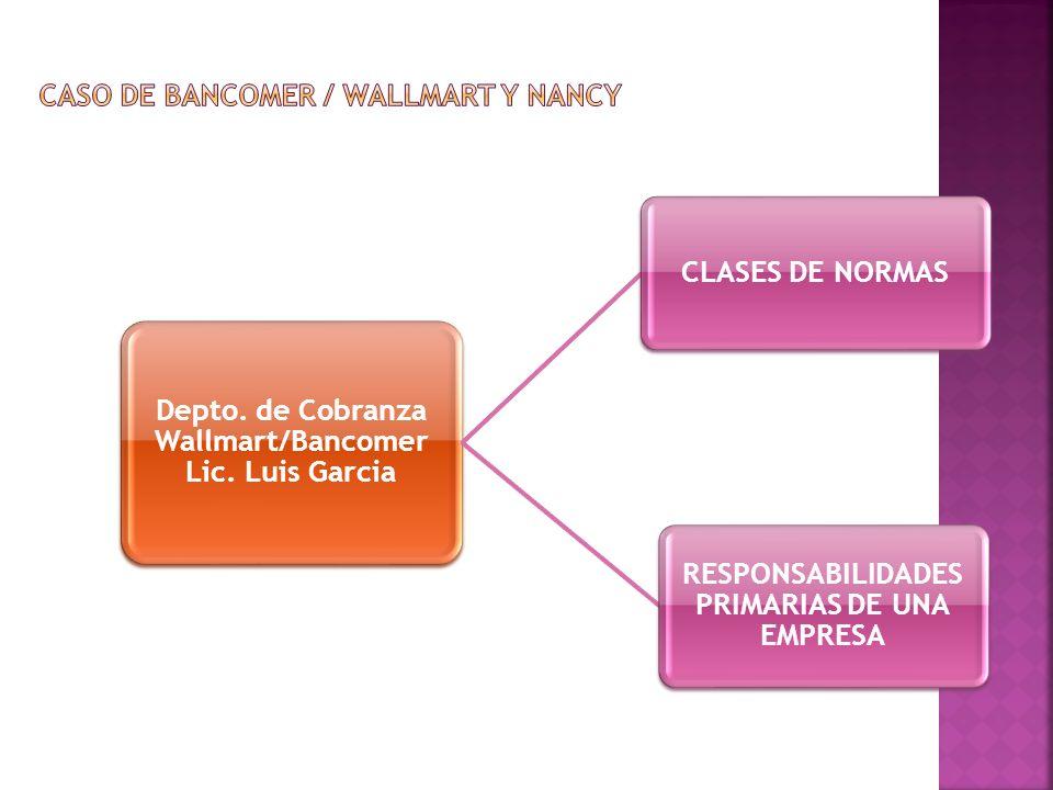 Depto. de Cobranza Wallmart/Bancomer Lic. Luis Garcia CLASES DE NORMAS RESPONSABILIDADES PRIMARIAS DE UNA EMPRESA