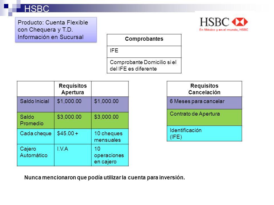 HSBC Producto: Cuenta Flexible con Chequera y T.D. Información en Sucursal Producto: Cuenta Flexible con Chequera y T.D. Información en Sucursal Compr
