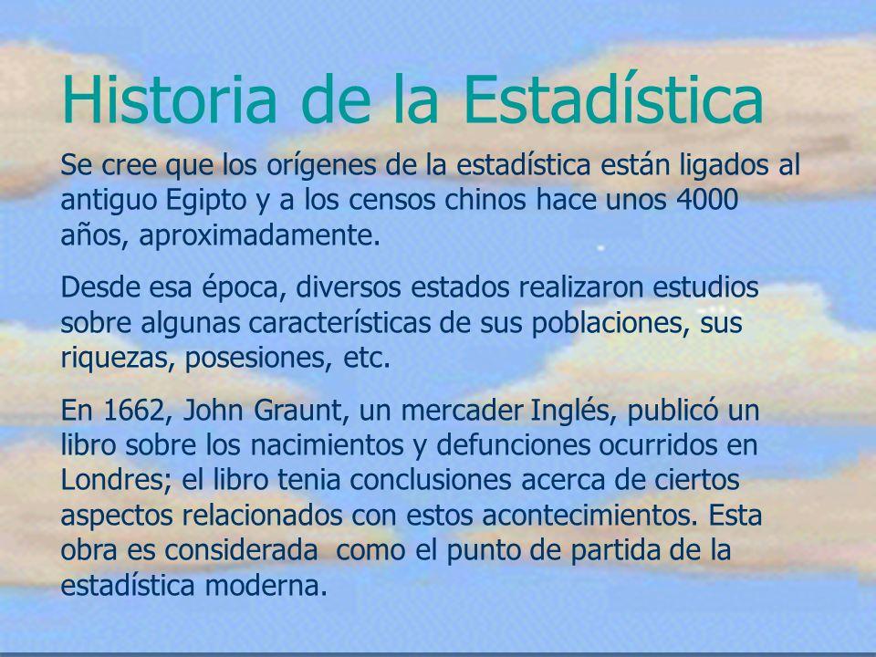 Historia de la Estadística Se cree que los orígenes de la estadística están ligados al antiguo Egipto y a los censos chinos hace unos 4000 años, aprox