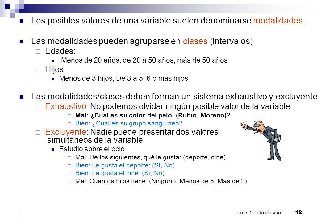 Tema 1: Introdución 12. Los posibles valores de una variable suelen denominarse modalidades. Las modalidades pueden agruparse en clases (intervalos) E