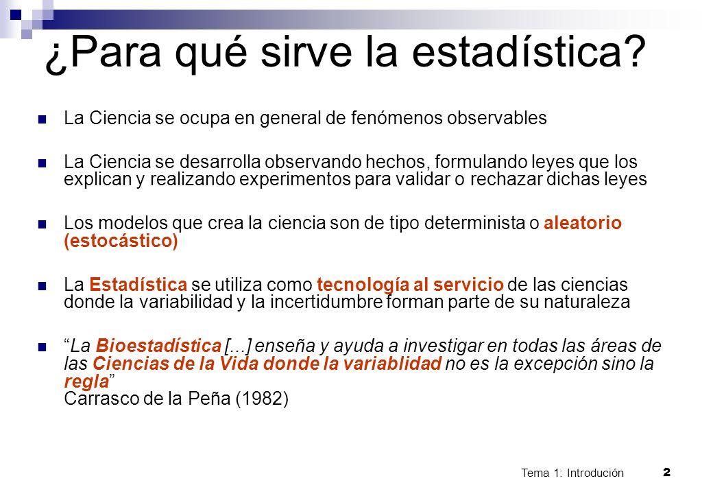 Tema 1: Introdución 2 ¿Para qué sirve la estadística? La Ciencia se ocupa en general de fenómenos observables La Ciencia se desarrolla observando hech