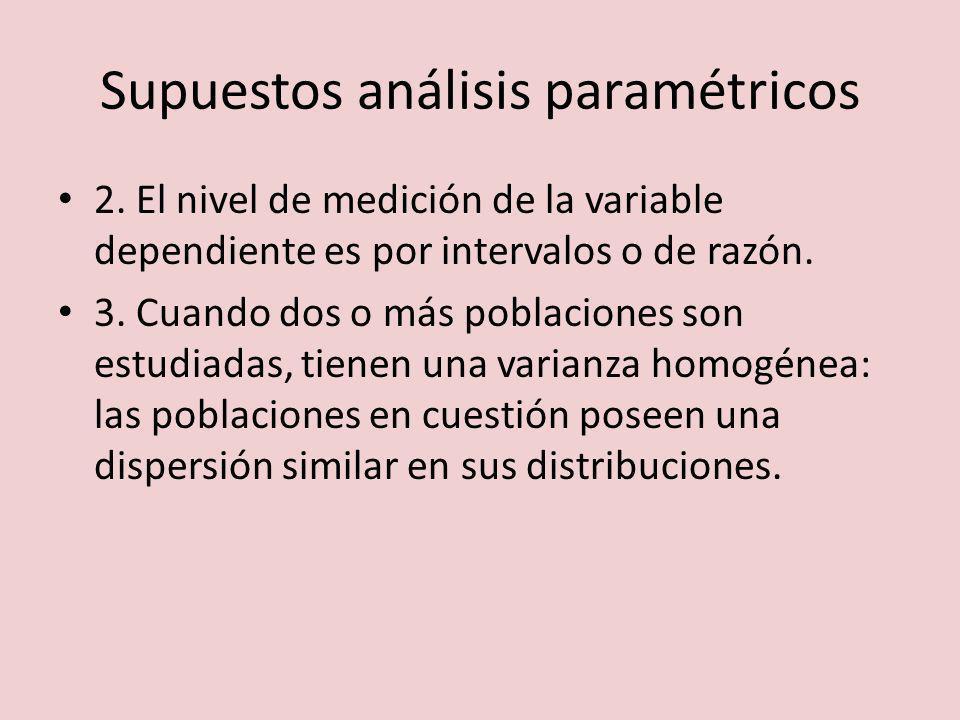 Supuestos análisis paramétricos 2. El nivel de medición de la variable dependiente es por intervalos o de razón. 3. Cuando dos o más poblaciones son e