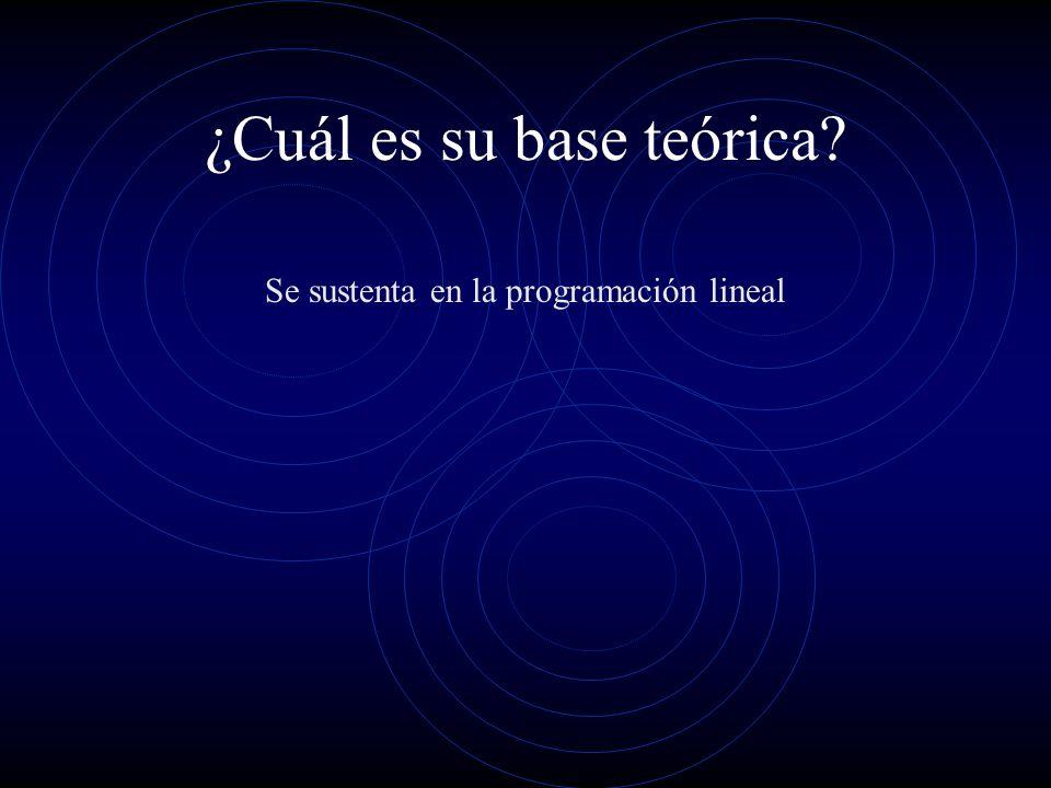 ¿Cuál es su base teórica? Se sustenta en la programación lineal