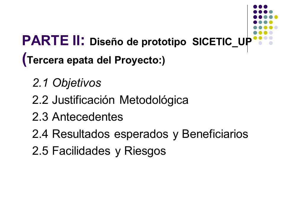 PARTE II : Diseño de prototipo SICETIC_UP ( Tercera epata del Proyecto:) 2.1 Objetivos 2.2 Justificación Metodológica 2.3 Antecedentes 2.4 Resultados