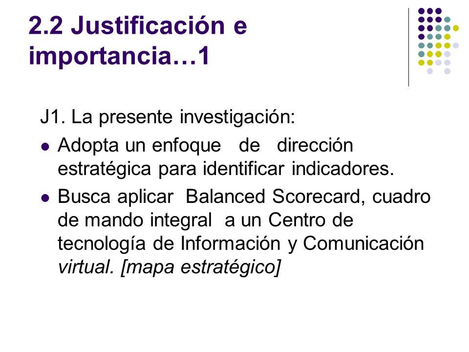 2.2 Justificación e importancia…1 J1. La presente investigación: Adopta un enfoque de dirección estratégica para identificar indicadores. Busca aplica