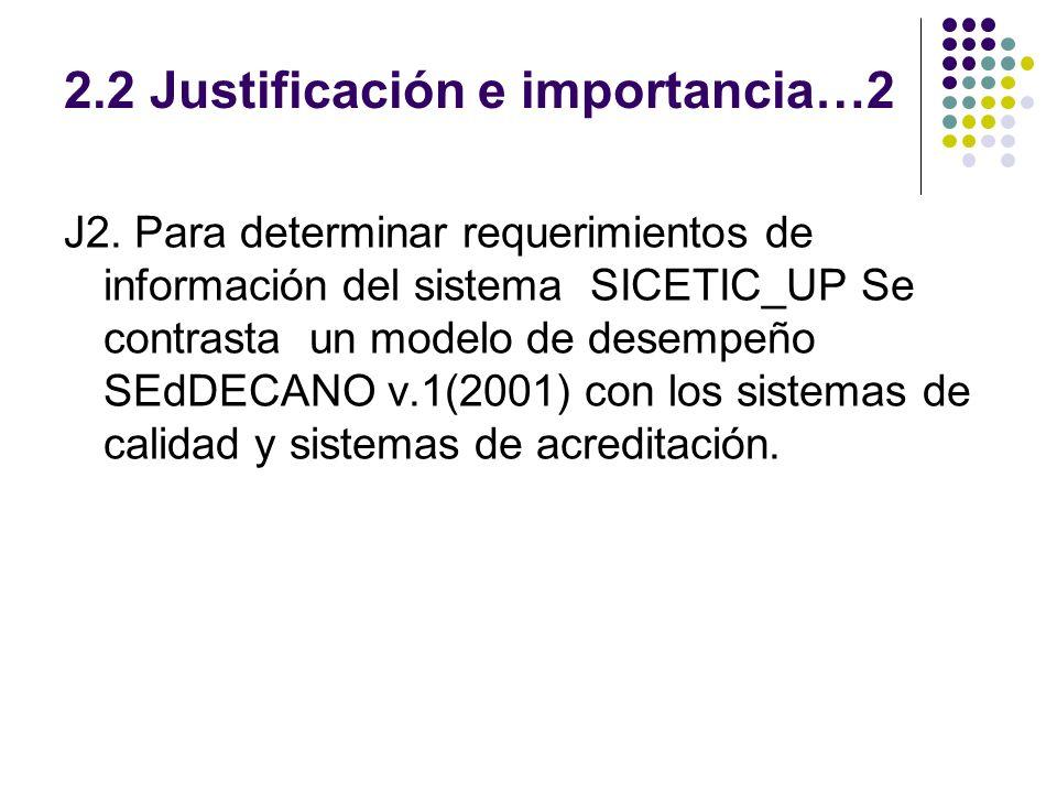 2.2 Justificación e importancia…2 J2. Para determinar requerimientos de información del sistema SICETIC_UP Se contrasta un modelo de desempeño SEdDECA