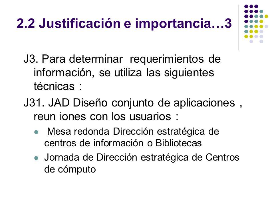 2.2 Justificación e importancia…3 J3. Para determinar requerimientos de información, se utiliza las siguientes técnicas : J31. JAD Diseño conjunto de