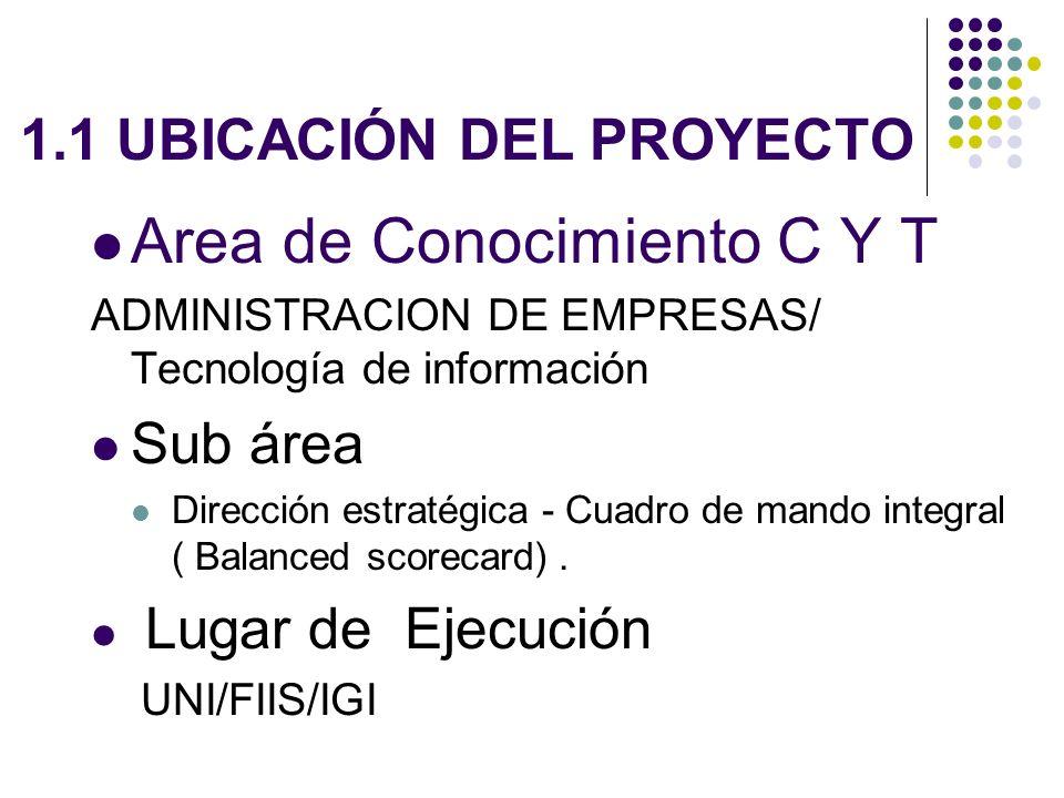 1.1 UBICACIÓN DEL PROYECTO Area de Conocimiento C Y T ADMINISTRACION DE EMPRESAS/ Tecnología de información Sub área Dirección estratégica - Cuadro de