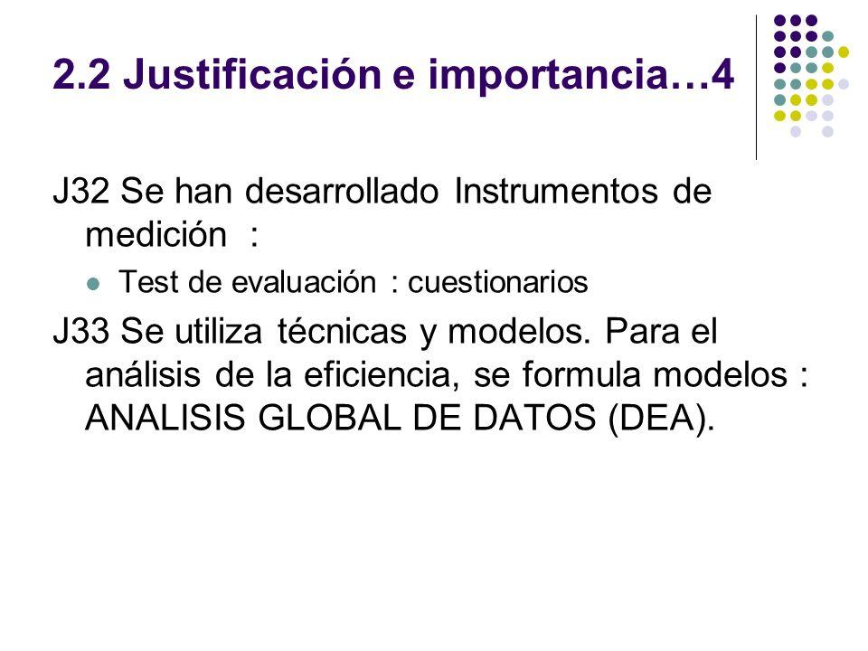 2.2 Justificación e importancia…4 J32 Se han desarrollado Instrumentos de medición : Test de evaluación : cuestionarios J33 Se utiliza técnicas y mode